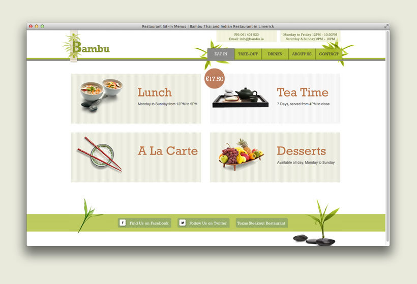 Bambu Restaurant | Website Content Structure