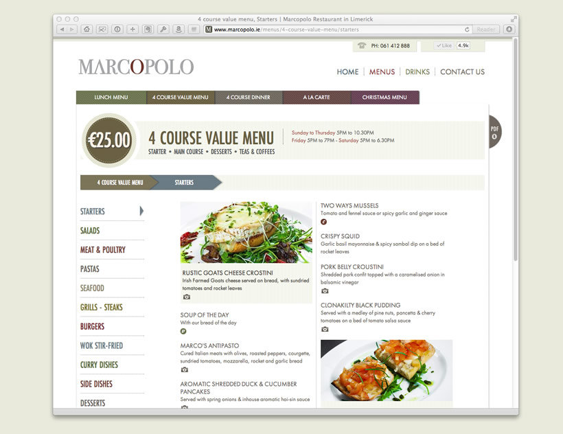 Marcopolo Restaurant | Menu Pages