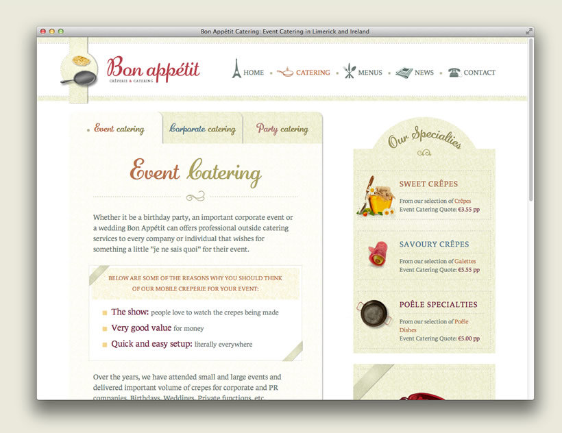 Web Design  Development By Loc Seigland Bon Apptit Catering