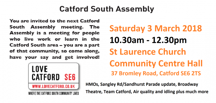 Catford South Local Assembly Meeting – Saturday 3rd March 2018