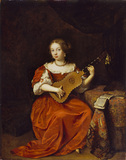 A Young Lady playing the Guitar