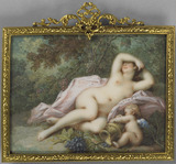 A sleeping Bacchante with Cupid