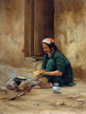 A Hill woman from Ladakh, cooking her food, 1893