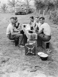 Tank crew's evening meal, Vernay, 1944