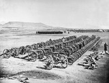 General Roberts inspecting captured Afghan artillery, Kabul, 1879 (c)
