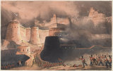 'Storming of Ghuznee. The Caubul Gate', 1839
