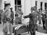 The formal surrender by Japanese General Itagaki Seishiro of his sword, Kuala Lumpur, 1946