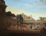 The Market Place of Trichinopoly showing officers of the Madras Light Infantry, 1800