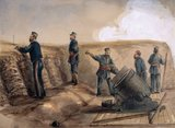 A 13-inch mortar of the Royal Artillery in action, 1855 (c)