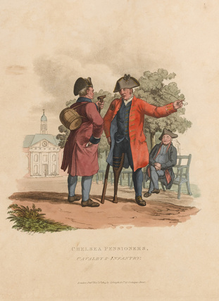 Chelsea Pensioners. Cavalry and Infantry, 1812