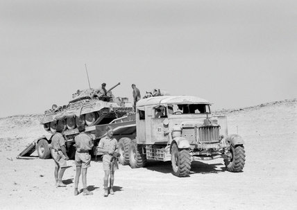 A Scammell transporter carrying a tank, Egypt, 1943 (c)