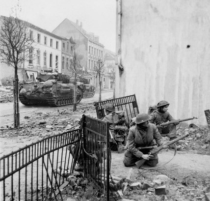 The capture of Kleve, Germany, 1945
