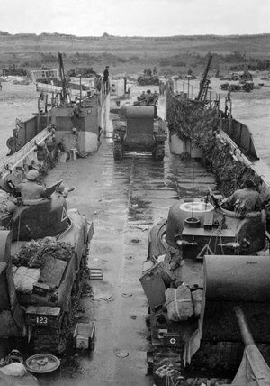 Tanks off-loading from an LCT, June 1944