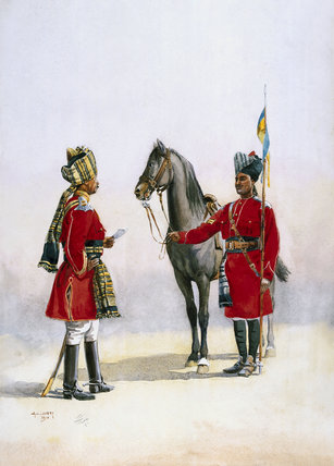 Alwar Lancers: Commandant and a Chohan Rajput (with lance), 1910