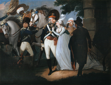An officer of light dragoons taking leave of his wife, 1795 (c)