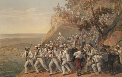 The 1st Bengal Fusiliers marching down from Dugshai, 1857 (c)