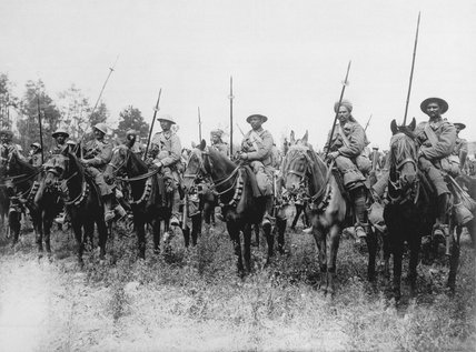 Indian Cavalry await the order to advance, Western Front, 1916