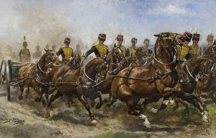 A battery of the Royal Horse Artillery galloping to a fresh position, 1911 (c)