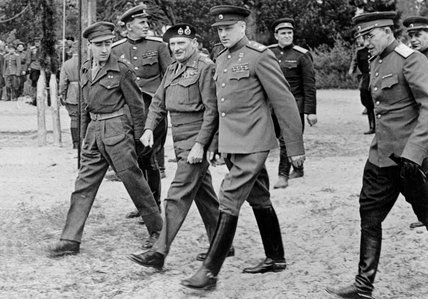 Field Marshal Bernard Montgomery with Marshal Konstantin Rokossovsky, 10 May 1945