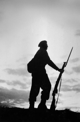 A soldier of 3rd County of London Yeomanry in silhouette, 1939 (c)