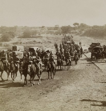 Lord Roberts and escort of Imperial Yeomanry entering Kroonstadt, South Africa, 1899
