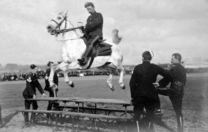 Cavalry training, horse-jumping, 1900 (c)