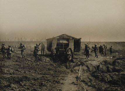 Mark I tank and infantry on the Western Front, 1916 (c)