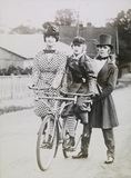 Lantern Slide of Mother and Daughter on Bicycle