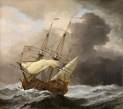 The English Ship Hampton Court in a Gale