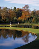 The Water Garden at Fountains Abbey viewed from the Temple of Piety in late Autumn