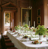 "The Dining Room at Lyme Park laid to design number 14, for a dining table from John Perkins' ""Flower Decorations For The Table, 1877"""