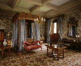 The State Bedroom at Penrhyn castle, showing late c18th hand painted chinese wallpaper