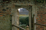 Closeup of an old doorway in the garden wall at Barrington Court