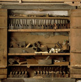 Close view of the tool cupboard in the Carpenter's Workshop at Llanerchaeron, an C18th estate near Aberaeron