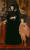 Portrait of DAME DOROTHY SELBY with a young boy in a red costume, at Ightham Mote