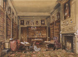 THE LIBRARY by Nicholas Condy hung in the Exhibition room, showing bookcase lined walls, tables, chairs, and portraits above the books