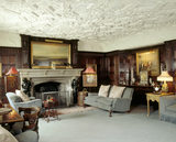 The Oak Room looking to the limestone fireplace