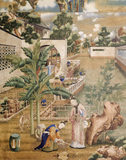 Newly conserved wallpaper in the private quarters at Saltram, depicting a garden with balustraded walkways and two ladies in the foreground arranging flowers