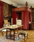 View of the Red Room, with the bed curtains and valances dating from c. 1670