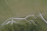 Aerial view of the White Horse of Uffington, an ancient chalk figure carved into the hills of Oxfordshire