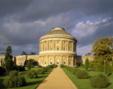 The South Front of Ickworth House in Suffolk showing the central rotunda, curved corridors and the gravel path in the garden