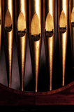 Close view of organ pipes from an C18th organ made by John England in the Marble Hall at Petworth House