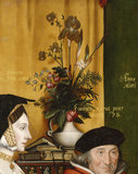 Detail from the painting SIR THOMAS MORE AND HIS FAMILY, by Rowland Lockey, after Holbein, depicting Sir Thomas More's father and a floral arrangement