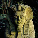 Close-up of one of the sphinxes in the Egyptian garden at Biddulph Grange