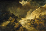 STORM AND AVALANCHE NEAR THE SCHEIDECK (exh 1804) by Philip James de Loutherbourg (1740-1812) from the North Gallery at Petworth House (Dec 1992)