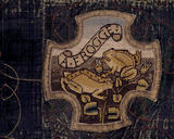 A motif depicting two frogs from the Marian Needlework at Oxburgh Hall