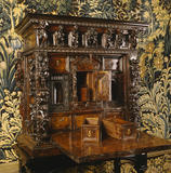 A carved oak and walnut chest in the Drawing Room at Nunnington Hall