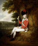 PORTRAIT OF EDWARD WILLIAM LEYBOURNE POPHAM IN THE UNIFORM OF THE 24TH LIGHT FOOT, by Arthur William Devis (1711-1787), post-conservation at Upton House (UPT/P/20)