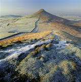 A view of the snow dusted, bent pinnacle of Roseberry Topping, North Yorkshire