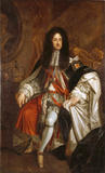 KING CHARLES II by Sir Godfrey Kneller; seated wearing court dress and with his crown and orb on a table by his side, post conservation